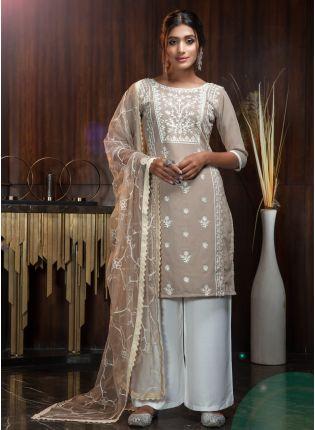 Beige Resham Rayon Soft Net Palazzo Salwar Suit