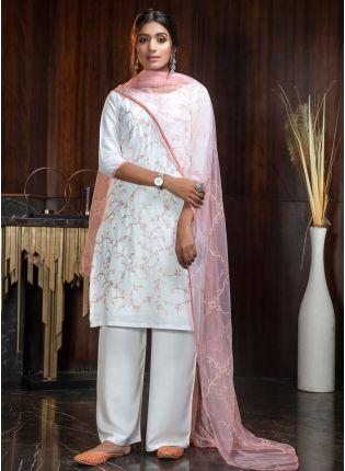 White Resham Rayon Soft Net Palazzo Salwar Suit