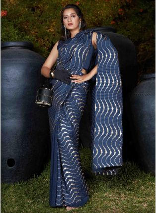 Classy Navy Blue Color Silk Base Party Wear Plitting Saree With Same Color Blouse