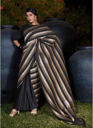 Elegant Black Color Silk base Plitting Party Wear Saree With Same Color Blouse