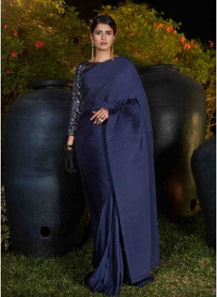 Classic Navy Blue Silk Base Ceremonial Wear Plitting Saree With Same Color Blouse