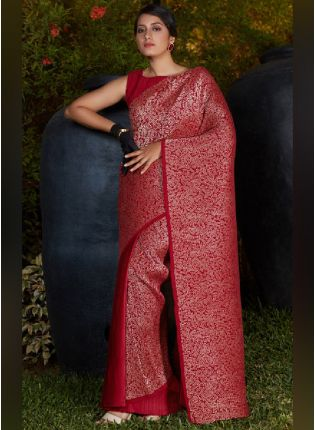 Glamorous Maroon Color Silk Base Half N Half Party Wear Saree With Same Color Blouse