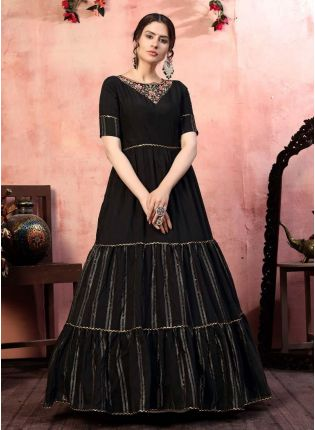 Glamorous Black Color Silk Fabric Designer Gown With Sequins Work