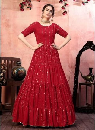 Gorgeous Red Color Georgette Fabric Fancy Sequins Work Gown