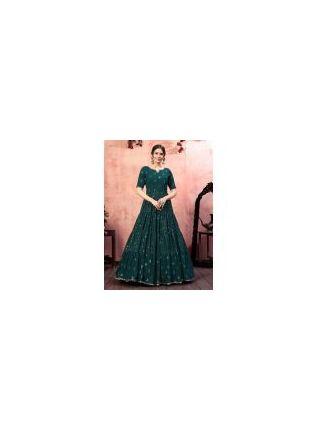 Dark Green Color Georgette Base Festival Wear Sequins Work Gown