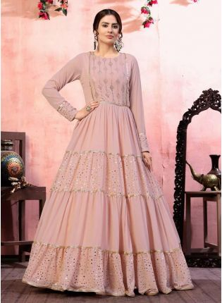 Riveting Dusty Pink Color Georgette Base Sequins Work Gown