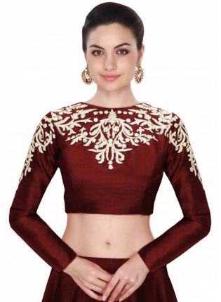 Iconic Maroon Embroidered Designer Long Sleeves Blouse