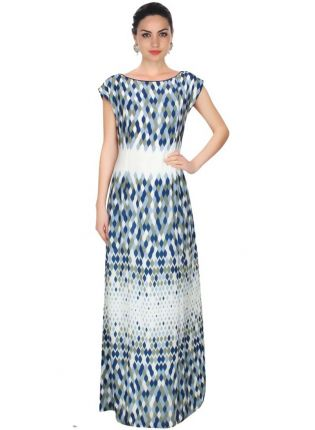 Affordable Ecru, Grey And Blue Leaf Illusion Print Long Dress