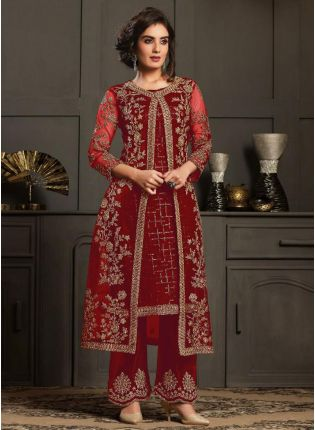 Dazzling Red Color Pant Style Suit