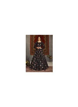 Amazing Black Color Taffeta Silk Fabric Printed Designer Gown