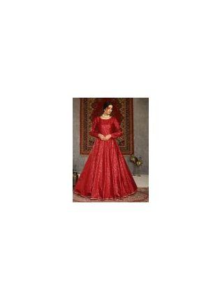 Boat Neckline Red Color Taffeta Silk Base Printed Designer Gown