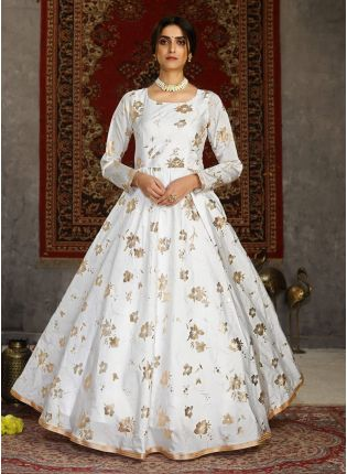 Attractive Taffeta Silk Base White Color Printed Designer Gown