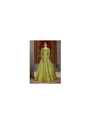 Yellow Green Color Taffeta Silk Base Occasion Wear Printed Designer Gown