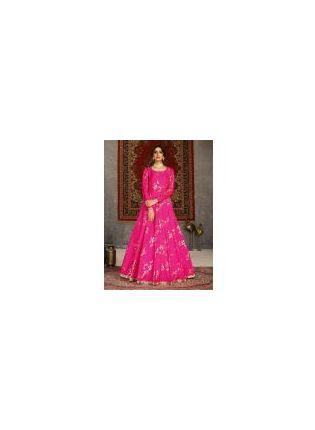Admiring Deep Pink Color Taffeta Silk Base Printed Designer Gown