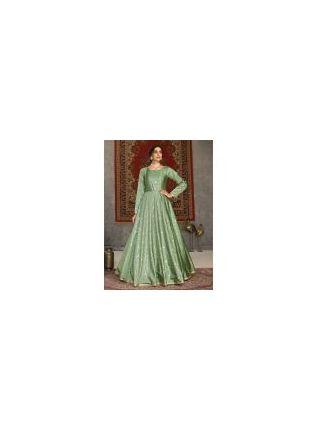 Pista Green Color Taffeta Silk Base Full Sleeves Designer Gown