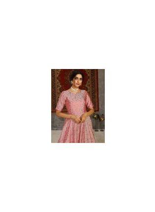 Half Sleeves Taffeta Silk Base Pink Color Designer Printed Gown