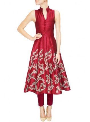 Buy Designer Embroidered Maroon Kurti For Women