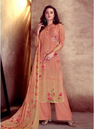 Attractive Cotton Base Orange Color Printed Palazzo Salwar Suit With Dupatta