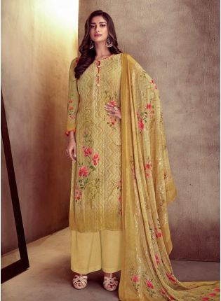Amazing Yellow Color Cotton Fabric Printed Palazzo Salwar Suit With Dupatta