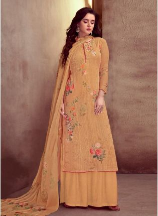 Beguiling Peach Color Cotton Fabric Printed Palazzo Salwar Suit With Dupatta