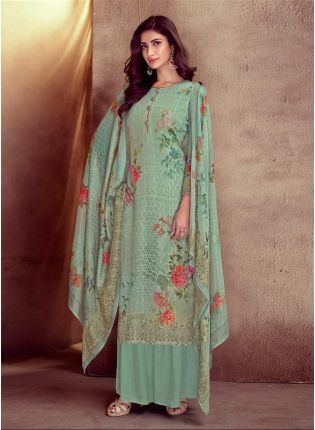 Enchanting Dark Sea Green Color Cotton Base Printed Palazzo Salwar Suit