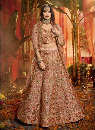 Buy Majestic Peach pink Organza base Designer Lehenga Choli