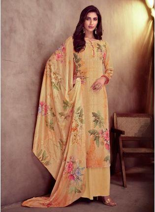 Fascinating Cotton Base Light Orange Color Printed Salwar Suit With Dupatta