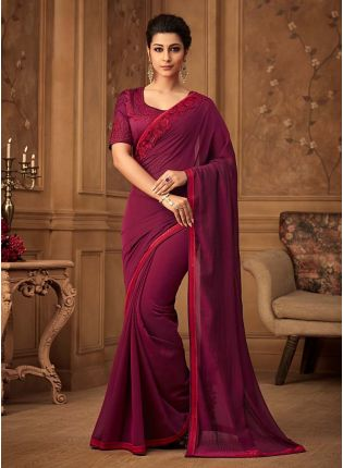 Captivating Wine Color Silk Base Sequins And Stone Work Wedding Wear Saree