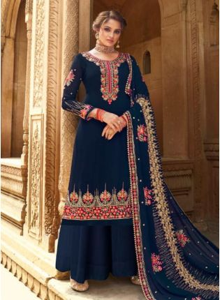 Exceptional Navy Blue Color Georgette Base Wedding Wear Palazzo Suit