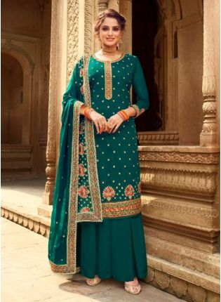Teal Green Color Georgette Base Heavy Work Designer Palazzo Suit