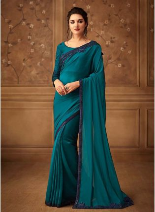 Teal Green Color Silk Base Stone And Sequins Work Wedding Wear Saree