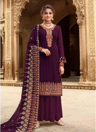 Attractive Wine Color Georgette Base Heavy Work Wedding Wear Palazzo Suit