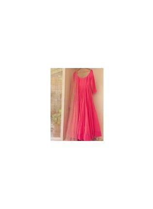 Decent Neon Pink Sequin Georgette Party Wear Designer Gown