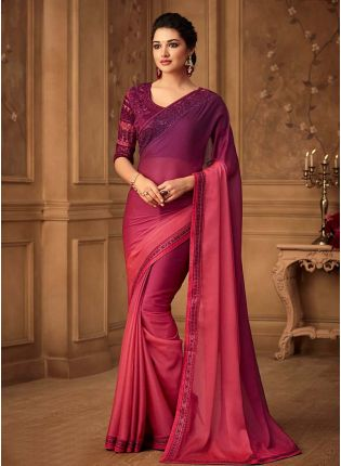 Glorious Look Wine And Pink Shaded Color Saree With Designer Blouse