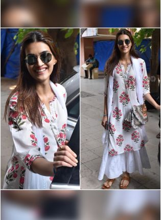 Stylish Designer White Color Floral Printed Party Wear Palazzo Suit