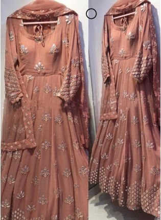 Splendid Brown Color Georgette Base Designer Embroidery Work Party Wear Gown