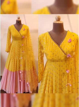 Splendid Delightful Pink And Yellow Color Designer Georgette Base Gown