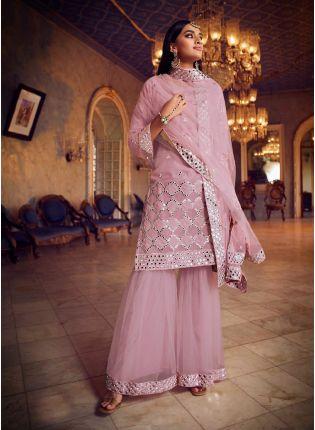 Baby Pink Color Organza Base Designer Look Sharara Suit