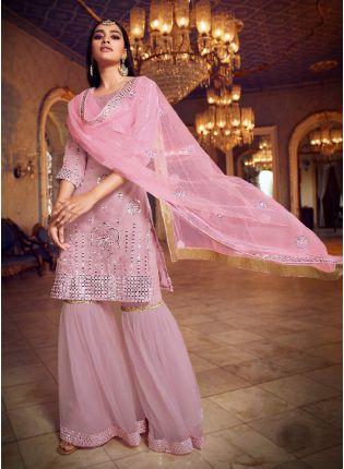 Trendy Baby Pink Color Organza Base With Heavy Work Designer Sharara Suit