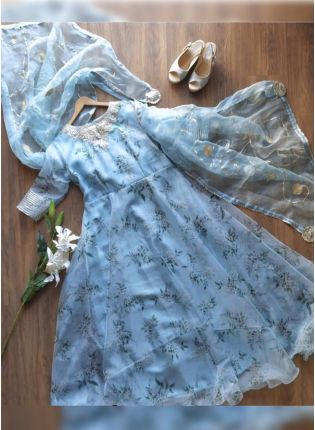 Affordable Sky Blue Color Party Wear Organza Gown