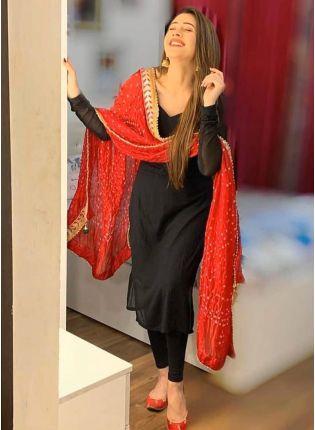 Purchase Mind-Blowing Black Georgette Base Designer Digital Printed Salwar Suit