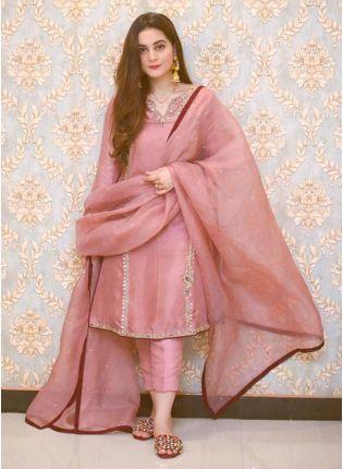 Shop Outstanding Peach Pink Cotton Base Designer Pant Style Suit