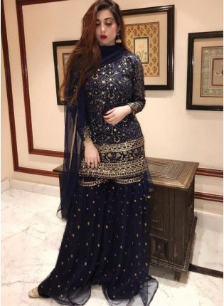 Navy Blue Color Soft Net Base With Sequins And Embroidery Work Sharara Suit