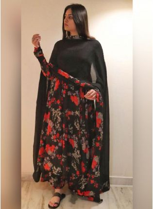 Black Color With Red Color Flower Print Georgette Base Palazzo Suit