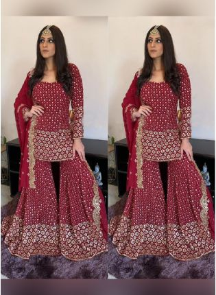 Fabulous Wine Color Georgette Base With Heavy Sequins Work Wedding Wear Palazzo Salwar Suit