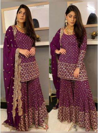 Exquisite Purple Color Georgette Base Wedding Wear Designer Palazzo Salwar Suit