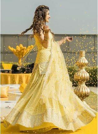 Beautiful Tuscan Yellow Color Georgette Base Lehenga Suit