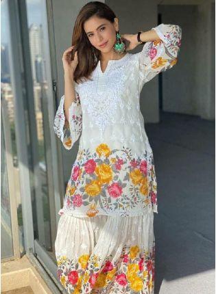 Admirable White Color Georgette Base Chikankari Sharara Suit