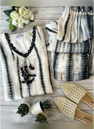 Fascinating White Color Cotton Base Palazzo Suit