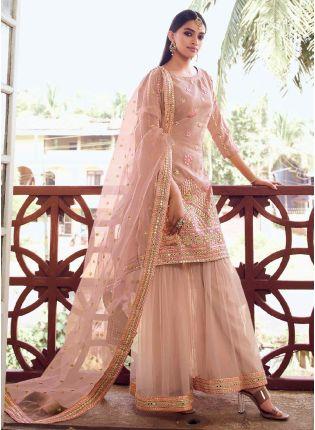 Stylish Look Peach Color Organza Base Designer Sharara Suit